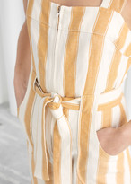 And other stories Cotton Linen Striped Jumpsuit