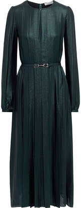 Gabriela Hearst Adelaide Belted Metallic Silk Crepe De Chine Midi Dress