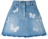 Valentino butterfly appliqué denim skirt