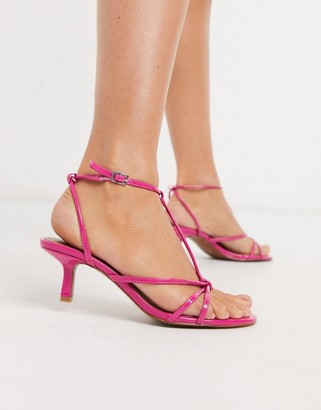 Who What Wear Freya strappy mid heeled sandals in pink patent