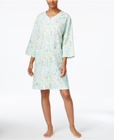 Miss Elaine Printed Knit Zip-Front Short Robe