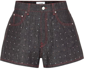 Kirin Embellished high-rise denim shorts