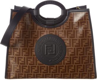 Fendi Runaway Ff Medium Canvas & Leather Shopper Tote