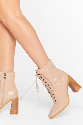 Nasty Gal Womens What's Lace-Up Faux Leather Croc Boots - Stone
