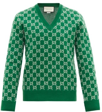 Gucci V-neck Gg-jacquard Wool-blend Sweater - Green