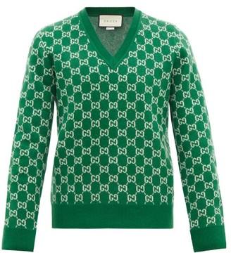 Gucci V-neck Gg-jacquard Wool-blend Sweater - Mens - Green