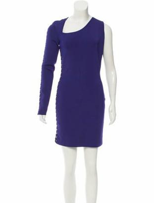 Balmain 2017 Lace-Up One-Sleeve Dress w/ Tags Purple