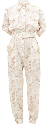 Zimmermann Super Eight Palm-print Linen Jumpsuit - Cream Print