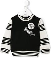 Dolce & Gabbana striped embroidered patch sweatshirt - kids - Cotton/Polyamide/Polyester/Viscose - 6-9 mth