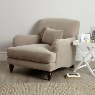 The White Company Petersham Velvet Armchair, Stone Velvet, One Size