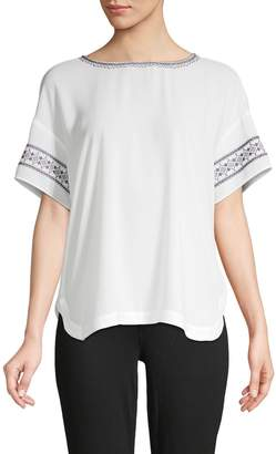NYDJ Embroidered Short-Sleeve Top