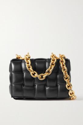 Bottega Veneta Cassette Chain-embellished Padded Intrecciato Leather Shoulder Bag - Black