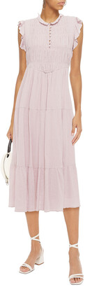 BA&SH Noah Shirred Cotton-gauze Midi Dress