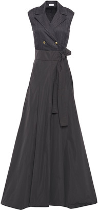 Brunello Cucinelli Wrap-effect Herringbone Cotton-blend And Silk-taffeta Gown