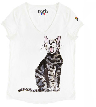 Nach White Laughing Cat Print T Shirt - small