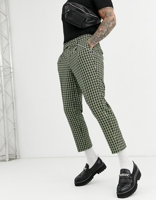 ASOS DESIGN slim crop smart trousers in green check with metal pocket chain