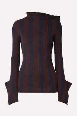 Palmer Harding palmer//harding - Shift Embellished Striped Ribbed Cotton And Cashmere-blend Sweater - Navy