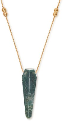 Alex and Ani 14K Gold Plated Moss Agate Pendant Necklace