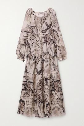 Stella McCartney Printed Cotton And Silk-blend Chiffon Maxi Dress - Gray
