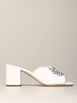 Miu Miu Sandal In Python Print Leather With Rhinestones