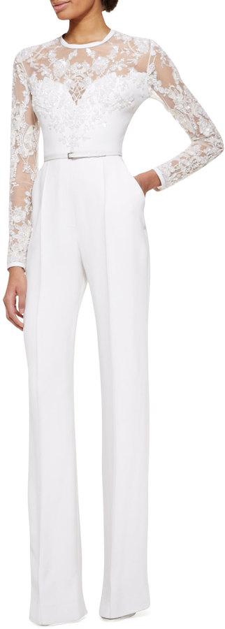Elie Saab Long-Sleeve Lace-Embellished Jumpsuit, Jasmine White
