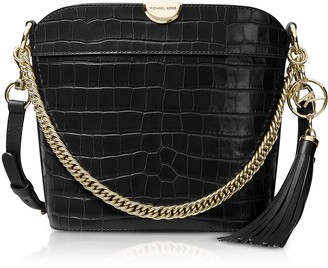 Michael Kors Bea Medium Crocodile-Embossed Leather Bucket Shoulder Bag