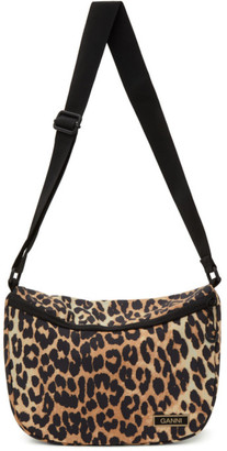 Ganni Black and Brown Recycled Leopard Print Bag