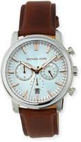MICHAEL Michael Kors Landaulet Chronograph Watch w/ Leather Strap, Silver