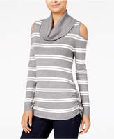 Hooked Up by Iot Juniors' Cowl-Neck Cold-Shoulder Sweater