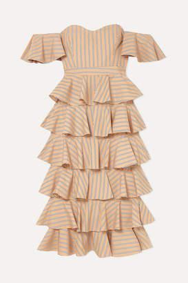 Caroline Constas Irene Off-the-shoulder Ruffled Striped Cotton Dress - Tan