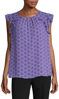 Liz Claiborne Short Sleeve Round Neck Woven Blouse