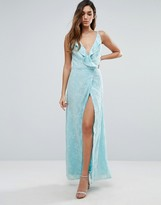 Jarlo Wrap Front Maxi Dress With Ruffle Detail