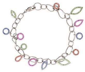 Sharon Khazzam Spassia 18K White Gold, Sapphire Tsavorite Garnet Charm Bracelet