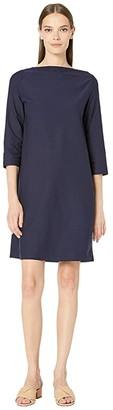 Eileen Fisher Washable Stretch Crepe Bateau Neck 3/4 Sleeve Knee Length Dress (Midnight) Women's Dress