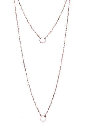 Elli Women Genuine Jewellery Necklace Extra Long Necklace Chain Layering Geo Circles Bloggers Trend 925 Sterling Silver Rose Gold Plated Length 70 cm