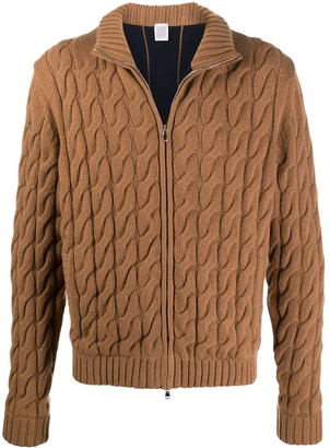 Eleventy Zip-Front Cable-Knit Cardigan