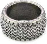 """Police Burnout"""" Tire Pattern and Engrave Logo Stainless Steel Ring, Size 10.5"""
