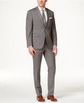 Perry Ellis Portfolio Men's Grey Pinstripe Slim-Fit Suit