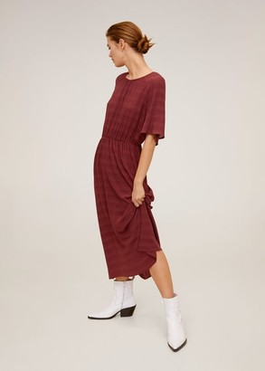 MANGO Elastic waist dress wine - 2 - Women