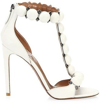 Alaia Bombe T-Strap Leather Sandals
