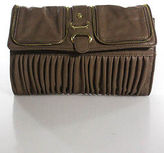 Big Buddha Taupe Pleated Zipper Accent Gold Hardware Clutch Handbag