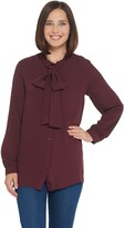Martha Stewart Woven Button Front Blouse with Tie Neck Detail