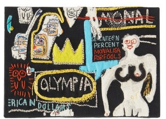 Olympia Le-Tan Basquiat Olympia-embroidered Canvas Clutch - Black Multi
