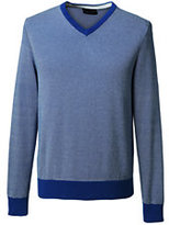 Lands' End Men's Tall Supima Cotton Jacquard V-neck Sweater-Dark Camel Heather Argyle