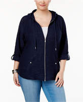 Style&Co. Style & Co Plus Size Zip Hooded Jacket, Created for Macy's