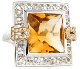 Citrine and Diamond Cocktail Ring