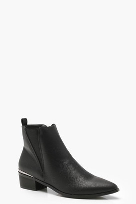 boohoo Pointed Toe Metallic Trim Chelsea Boots