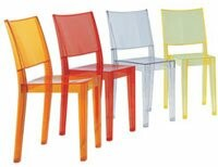 Kartell Ghost Stacking Patio Dining Side Chair (Set of 2 Color: Transparent Light Orange
