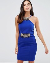 Forever Unique Marilyn Midi Dress With Embelished Neck And Waist