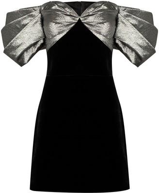 Rasario Off-The-Shoulder Contrast-Panel Mini Dress